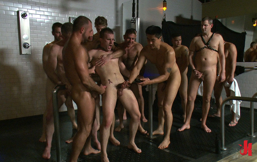 Bound in public - Men at spa play dirty with gay sex slave in kinky group  sex and humiliation pictures