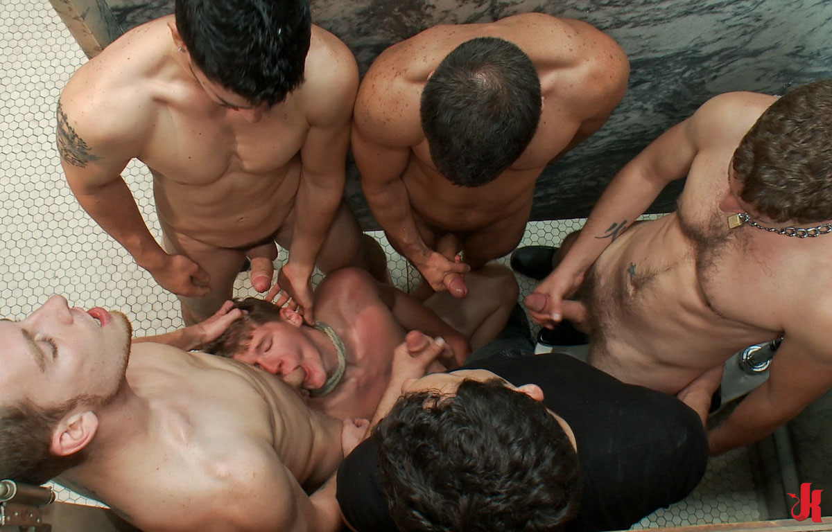 Bound In Public - Gay Twink Bound In Ropes In Rest Room -8114