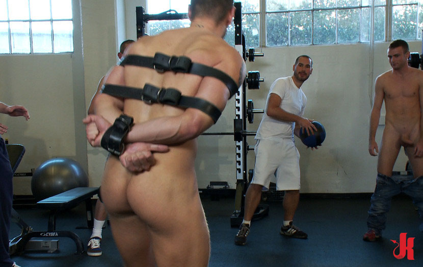 Sexy gay hunk tied is forced to fuck