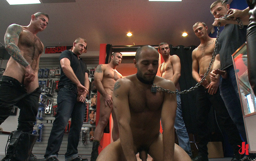 Bound In Public - Athletic Black Gay Hunk Tied And -9839