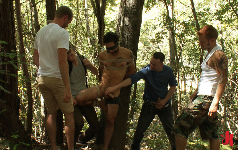Group sex in forest, hairy pussy ass up